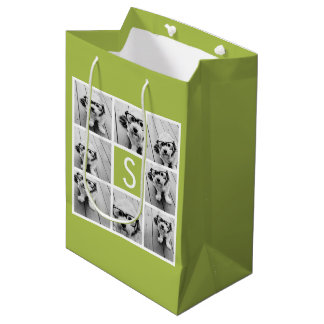 Photo Collage Custom Monogram - Lime Green Medium Gift Bag
