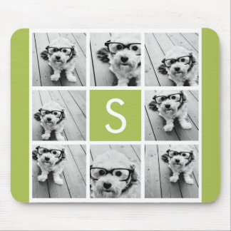 Photo Collage Custom Monogram - Lime Green Mouse Mat