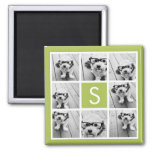 Photo Collage Custom Monogram - Lime Green Square Magnet