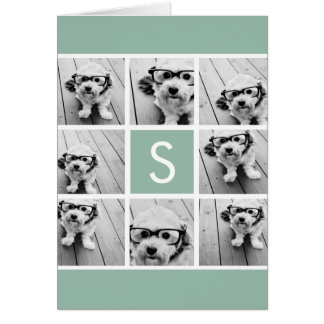 Photo Collage Custom Monogram Mint Green Card