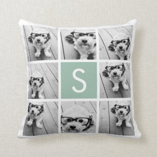 Photo Collage Custom Monogram Mint Green Cushion
