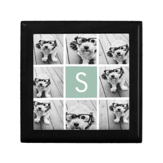Photo Collage Custom Monogram Mint Green Gift Box