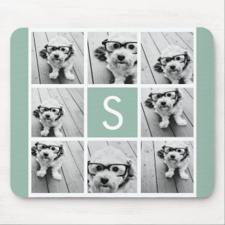 Photo Collage Custom Monogram Mint Green Mouse Mat