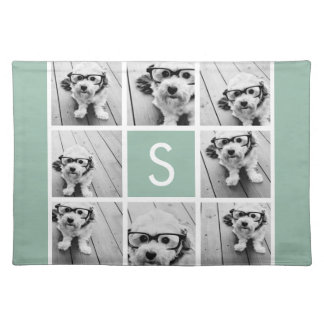 Photo Collage Custom Monogram Mint Green Placemat
