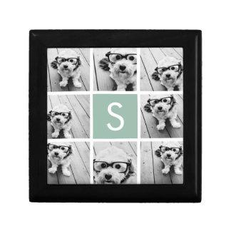 Photo Collage Custom Monogram Mint Green Small Square Gift Box