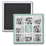 Photo Collage Custom Monogram Mint Green Square Magnet