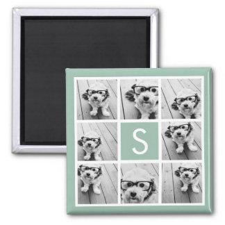 Photo Collage Custom Monogram Mint Green Square Magnet