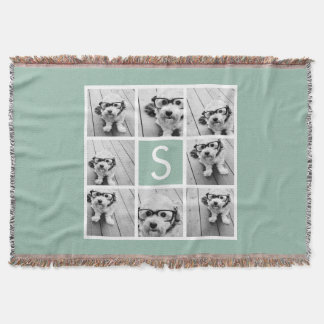 Photo Collage Custom Monogram Mint Green Throw Blanket