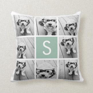 Photo Collage Custom Monogram Mint Green Throw Pillow