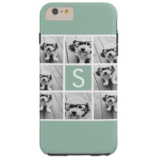 Photo Collage Custom Monogram Mint Green Tough iPhone 6 Plus Case
