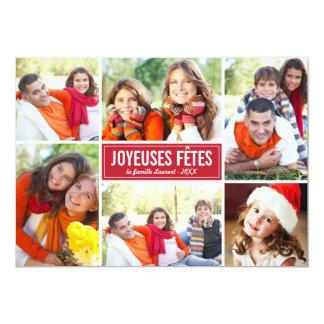 Photo Collage de Noël Carte de Voeux | en Rouge Card