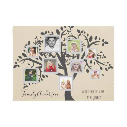 Photo Collage Family Tree Template Personalised Doormat