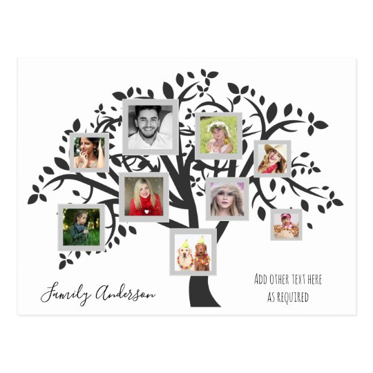 Photo Collage Family Tree Template Personalised Postcard