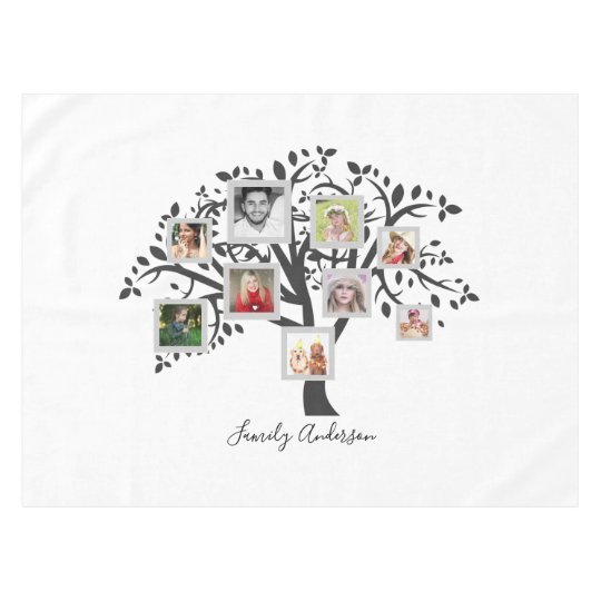 Photo Collage Family Tree Template Personalised Tablecloth