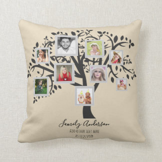 Photo Collage Family Tree Template Personalized Cushion