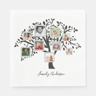 Photo Collage Family Tree Template Personalized Disposable Serviette