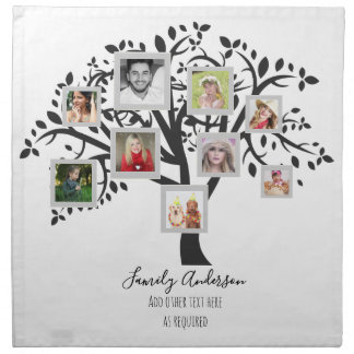 Photo Collage Family Tree Template Personalized Napkin