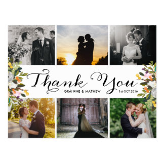Photo Collage Floral Wedding Thank You Postcard