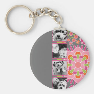 Photo Collage Hot Pink and Orange Flowers Basic Round Button Key Ring