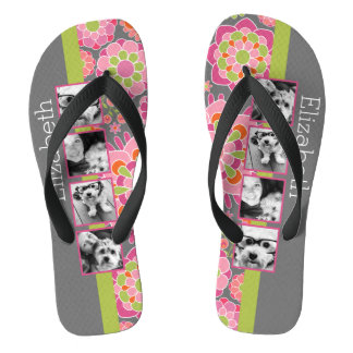 Photo Collage Hot Pink and Orange Flowers Flip Flops