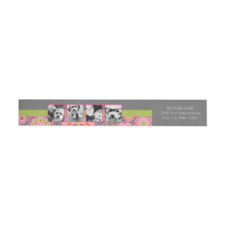 Photo Collage Hot Pink and Orange Flowers Wrap Around Label