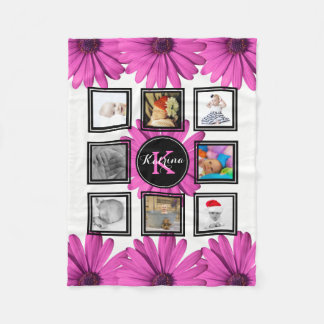 Photo Collage Hot Pink Daisies B&W Personalized Fleece Blanket