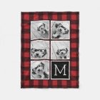 Photo Collage - Monogram Red Black Buffalo Plaid Fleece Blanket