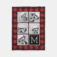 Photo Collage - Monogram Red Black Buffalo Plaid Fleece Blanket
