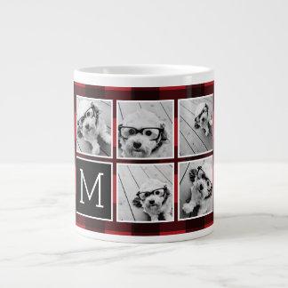 Photo Collage - Monogram Red Black Buffalo Plaid Large Coffee Mug