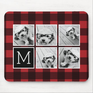 Photo Collage - Monogram Red Black Buffalo Plaid Mousepads