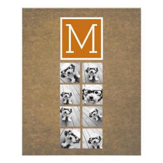 Photo Collage Monogram - Rustic Kraft and Orange Flyer