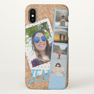 Photo Collage of Travel Memories on Corkboard iPhone X Case