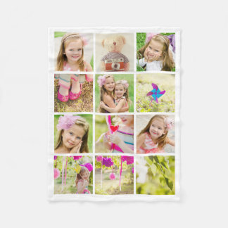 Photo Collage Template Personalized Fleece Blanket