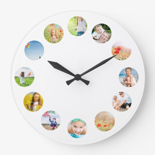 Photo Collage Wall Clock with Your Images