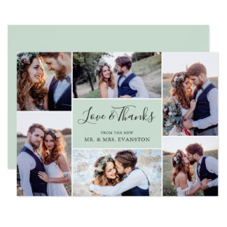 Photo Collage Wedding Thank You Flat Card | Mint