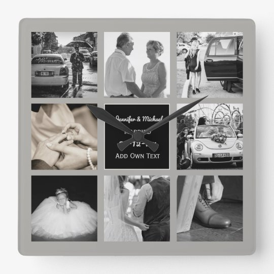 PHOTO COLLAGE Wedding Vow Renewal Anniversary Grey Square