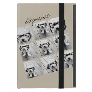 Photo Collage with 9 square photos - Taupe Cover For iPad Mini