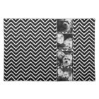 Photo Collage with Black and White Chevron Pattern Placemat