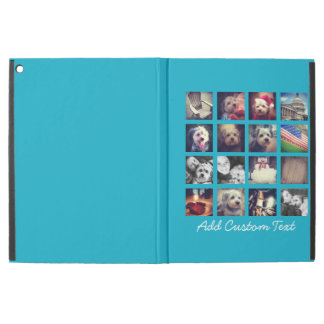 "Photo Collage with Bright Aqua Background 16 pics iPad Pro 12.9"" Case"
