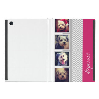Photo Collage with Gray White Chevron Pattern Cover For iPad Mini