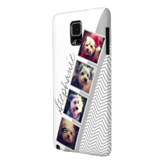 Photo Collage with Gray White Chevron Pattern Galaxy Note 4 Case