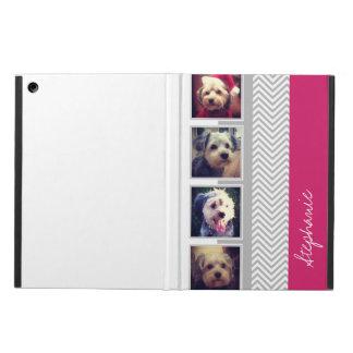 Photo Collage with Grey White Chevron Pattern iPad Air Case