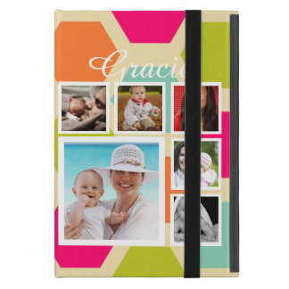 Photo Collage With Hexagon Pattern Personalized iPad Mini Cover