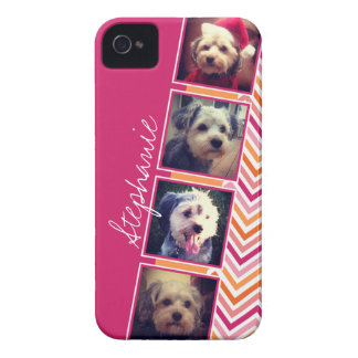 Photo Collage with Hot Pink and Orange Chevrons iPhone 4 Covers