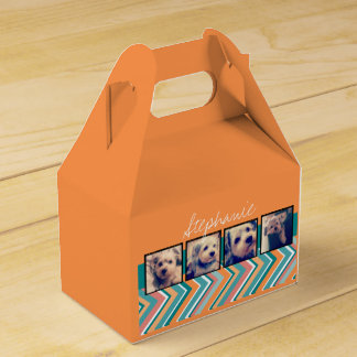 Photo Collage with Orange and Teal Chevrons Party Favour Boxes