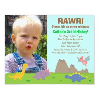 Photo Colourful Dinosaur Birthday Party 11 Cm X 14 Cm Invitation Card