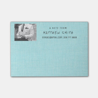 Photo Corporate Blue Aqua Natural Burlap Post-it Notes