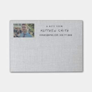 Photo Corporate Gold Gray Natural Burlap Post-it® Notes