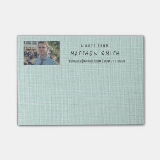 Photo Corporate Mint Green Natural Burlap Post-it Notes
