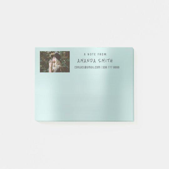 Photo Corporate Name Message Tiffany Aqua Blue Post-it